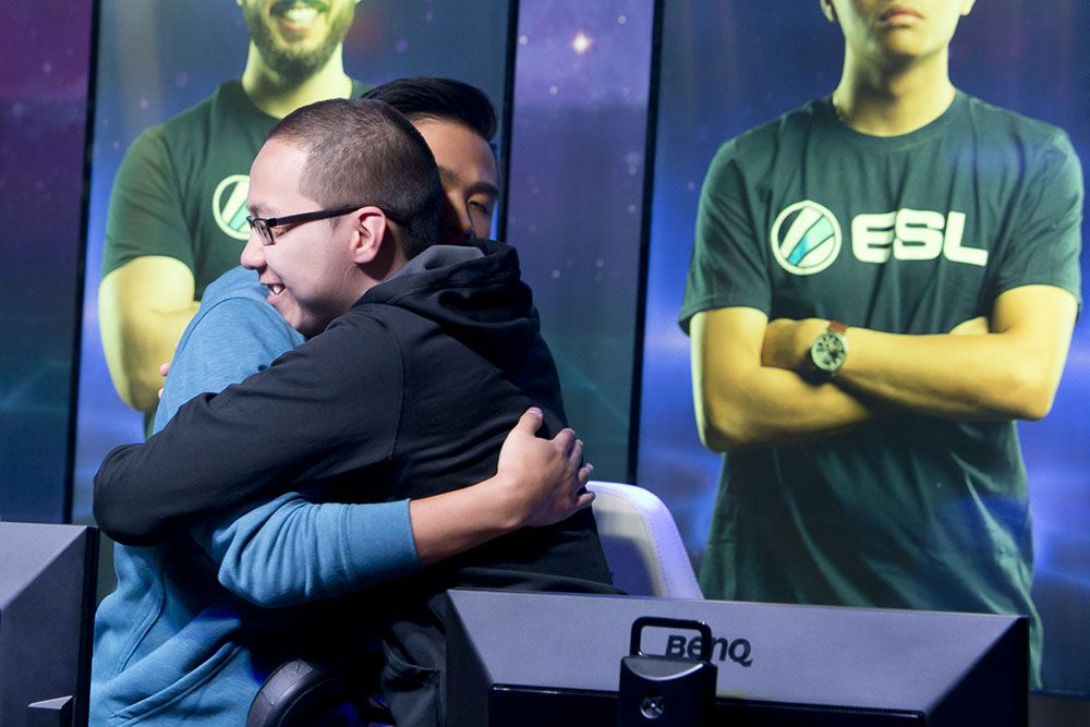 Daihuu and GOAT celebrating their victory over Gale Force eSports at ESL Burbank