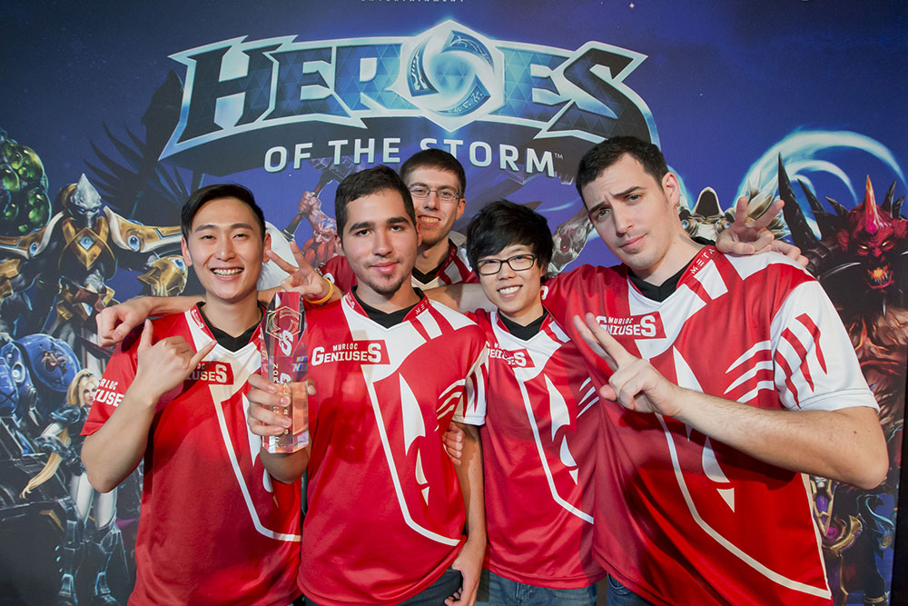 Murloc Geniuses after their win at the Heroes of the Storm NA Regional at PAX