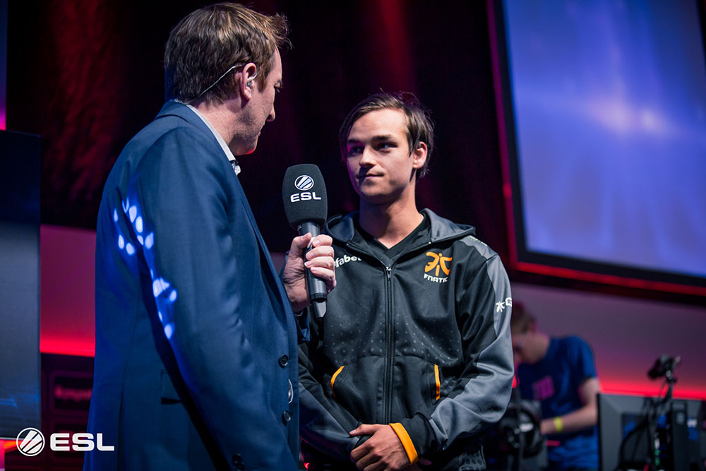Quackniix is interviewed after their group stage win at Gamescom