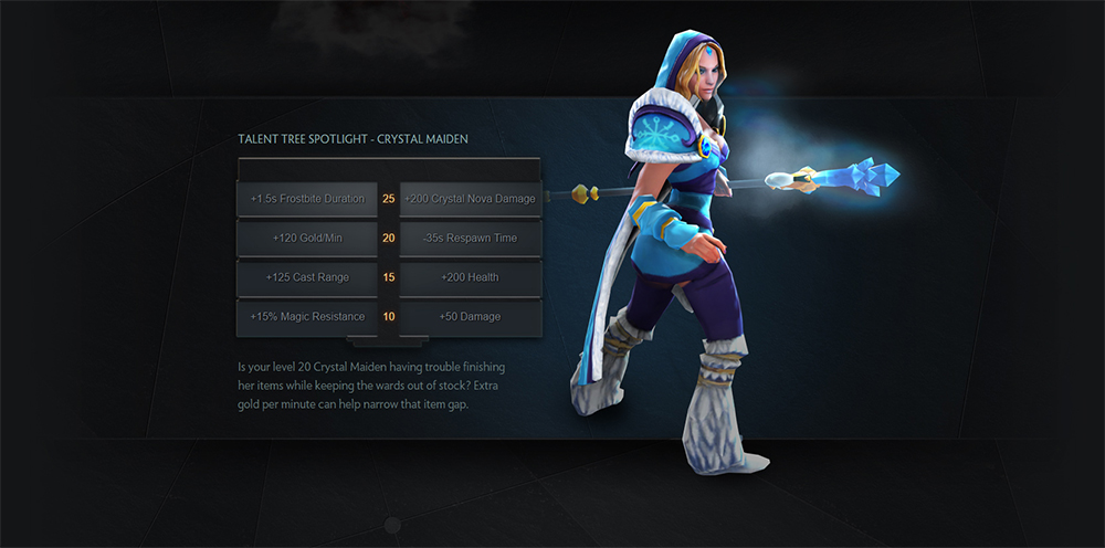 Crystal Maiden's talent tree in the newest Dota patch